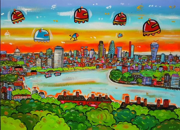 Funky View of London, hand painted print on canvas